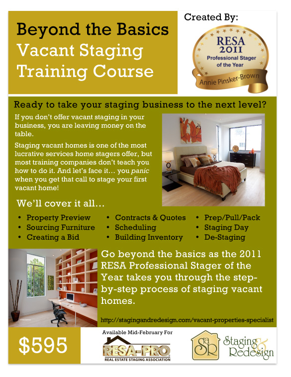 Earn the Vacant Staging Specialist Designation With New Vacant ... Flyer Home Staging And Redesign on home inspection flyer, home cleaning flyer, home security flyer, home buying flyer, home maintenance flyer, organizing your home flyer, home listing flyer, home insurance flyer, home repairs flyer,